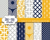 digital scrapbook papers - mustard yellow, navy blue and gray geometric tribal arrow, starburst and polka dot patterns - INSTANT DOWNLOAD