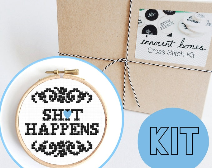 Featured listing image: Sh*t Happens Modern Cross Stitch Kit - easy chart design guide great for beginners - naughty mature bad taste funny quote embroidery kit