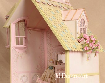 For Huifang - French Pink One-Room Elegant Cottage Dollhouse Roombox - Jill Dianne Design - Handpainting - Hand-bulit