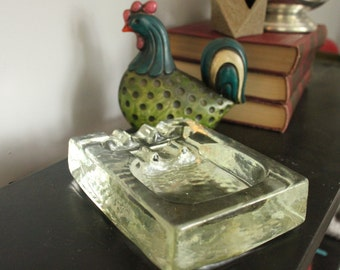 One of a Kind Vintage 1950's Blenko Glass Thompson Of Tampa Cigar, Cigarette Ashtray Pipe Rest,Cigar Ashtray