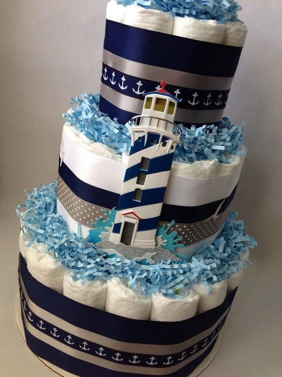 Navy And Grey Diaper Cake Baby Shower By Mrsheckeldiapercakes