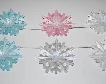 Winter Wonderland Birthday--Winter Onederland Decorations--Hot Cocoa Party--Snowflakes Banner--White Pink Aqua Silver Snowflakes