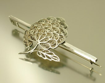 Vintage/ antique 1950s, continental silver filigree, flower, brooch pin / pendant - jewelry jewellery