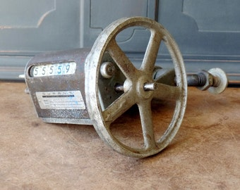 Vintage Industrial Steampunk Salvage, Wheel, Counter, Repurpose, Upcycle, Rustic, Chippy