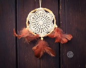 Dream Catcher - True Memories - With White Crochet Web and Natural Brown Feathers - Boho Home Decoration, Nursery Mobile