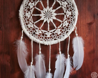 Dream Catcher - Flower of Summer - With White Crochet Web and Pure White Feathers - Boho Home Decor, Nursery Mobile