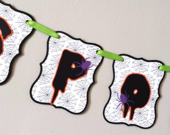 Spooky Halloween Banner - Halloween Decor - Paper Party Banner - Paper Bunting - Photo Prop - Home Decor