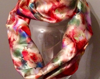 Watercolor infinity scarf with secret pocket
