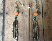 Orange Teal Silver Feather Earrings