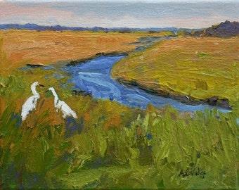 "STUDIO EVENT! Maine Snowy Egrets,Saltwater Marsh Original  landscape THICK oil paint. 8""X10"" by Adrienne Kernan LaVallee Art & Collectibles"