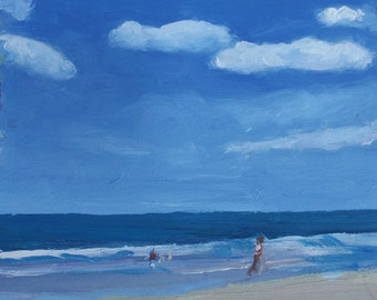 """STUDIO EVENT small oil painting, original,  a day at the beach, 5""""X5"""" deep cradled wood panel art by Maine artist Adrienne Kernan LaVallee"""