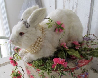 Large furry bunny figure nesting on a vintage hat box shabby cottage chic spring vintage rabbit w/ pretty base home decor anita spero design