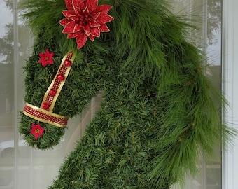 Christmas Wreath, Horse Christmas Pine Wreath, Horse Wreath, Horse Lovers Holiday Wreath, Horse Head Wreath