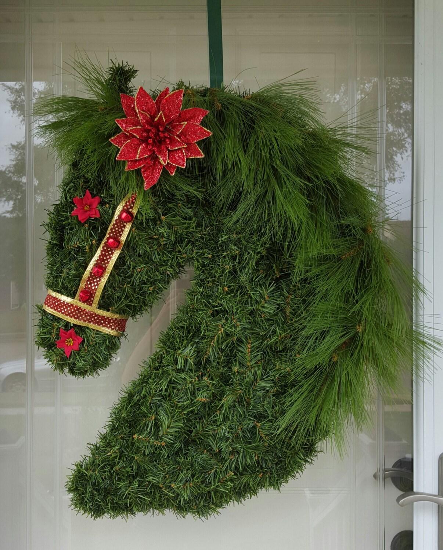 Christmas Wreath Horse Christmas Pine Wreath Horse Wreath