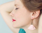 SALES -30% / Pink fabric and leather earrings for women