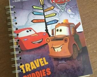 Cars Travel Buddies Little Golden Book Recycled Journal Notebook