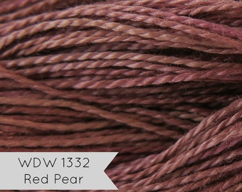 Pearl Cotton Thread | Weeks Dye Works Hand Over-Dyed Perle Cotton Floss Thread -Size 8 Red Pear | Hand Quilting, Applique, Embroidery