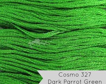 COSMO Embroidery Floss - No. 327 Dark Parrot Green   Lecien Cosmo 6 Strand Cotton Embroidery Thread for Embroidery, Quilting, Cross Stitch