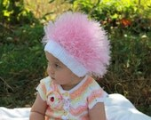 Baby hats / Cabbage Patch Kids Hat  / Beanie Wig  / Children  fuzzy hat  / Baby costume / Halloween Costume / Pink