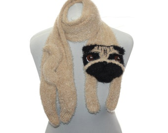 Knitted Pug scarf / Fuzzy Soft Scarf / dog scarf / knit dog scarf / animal scarf / OOAK / Pet portrait