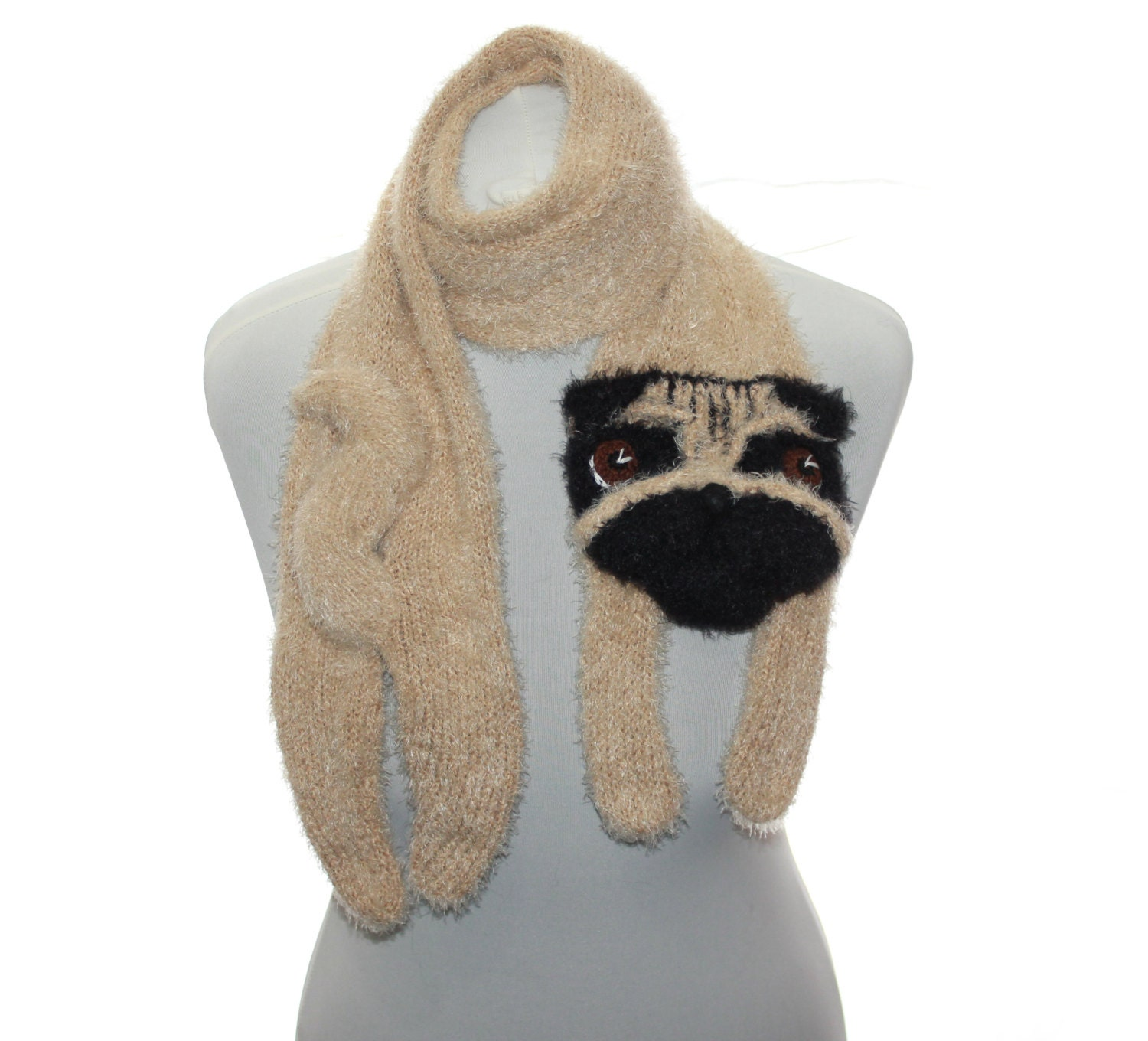 Knitted Pug Pattern : Dog portrait / Knitted Pug scarf / Fuzzy Soft Scarf / dog