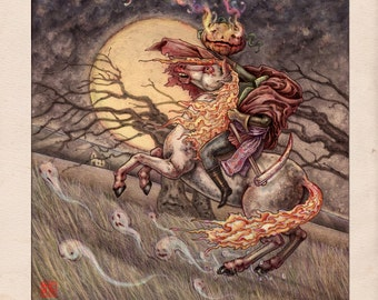 Headless Horseman Archival Print // Fantasy Horror Illustration Fine Art Print