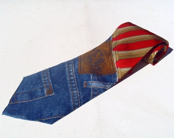 Vintage 1990s Structure Red Columns and Jean Pocket Novelty Silk Tie