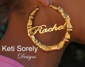 Celebrity Style Large Bamboo Name Earrings - Door Knocker Hoop Earrings (Order Any Name) - Silver, Yellow or Rose Gold Plated Finish