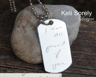 Men's Jewelry -  Engraved ID Pendant with Your Handwritten Word, Signature or Phrase - Sterling Silver Jewelry For Man