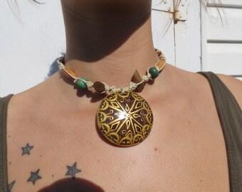 Wood & Hemp Beaded Tribal Choker Necklace