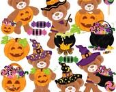 Halloween Teddy Clipart Set