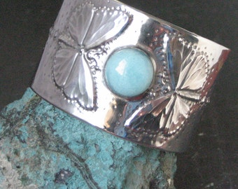 Silver Cuff Bracelet Butterflies with Amazonite in Pewter