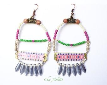 Southwestern Navajo Spike Hoop Beaded Earrings Native american style jewelry