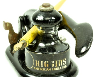 1930's Vintage Eugene Dietzgen Automatic Drawing Pen Ink Filling Station-Higgins American India Ink Glass Bottle-Yellow Wooden Dipping Pen