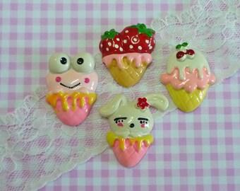 4 pcs Assorted/mixed Ice Cream Cone Cabochon, Strawberry Frog Bunny  Cherry Icecream Cone Deco, Flatback, Sweet Dessert