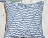 Blue Pillow - Blue Gray Geometric Pillow - Navy Blue Chevron Pillow - Grey Pillow Cover -Throw Pillow - Toss Pillow - Cushion