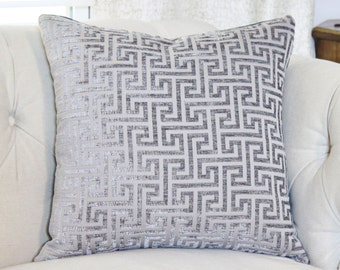Gray Greek Key Pillow - Grey Chenille Geometric Pillow Cover - Neutral Chenille Pillow - Smoke Gray - Throw Pillow - Motif Pillow