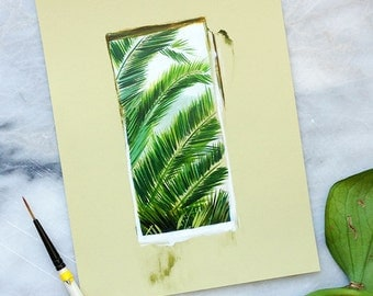 Tropical Fern in Window Print