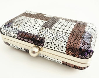 Gorgeous Black, Silver & Bronze Shimmer Patchwork Sequin Minaudiere Box Clutch - Evening Handbag - Includes Crossbody Chain - Ready to Ship