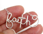 FAITH Necklace, FREE SHIPING, Religious Jewelry, Faith Jewelry, Cross Necklace, Word Necklace, Wire Jewelry, Name Necklace, Unique Necklace