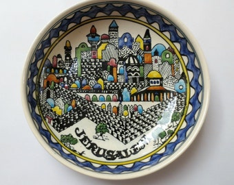 Hand Painted Jerusalem Bowl from Israel, CityScape, Blue and Cream