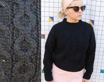 LONE Black Cable Knit Fishmens High Neck Cropped Black Sweater
