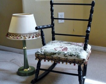 Childs Rocking Chair in Renaissance Themed Padded Seat and Accompanying Lamp