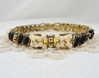 Beautiful Beaded Bangle Bracelet Black White Beads