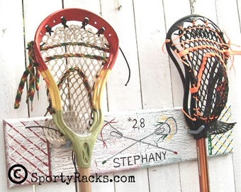 Lacrosse Player Stick Hanger Two Teams Custom Colors Personalized Lax Stick Display Favorite Lax Team Sportyracks Sports Wall Hook Rack MTO