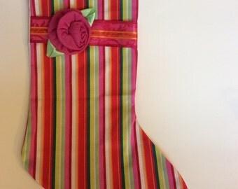 Stocking, Christmas stocking, striped christmas stocking