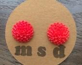 Red Mum Cabochon Stud Earrings
