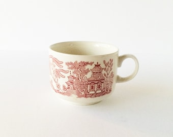 Vintage Breakfast Cup Pink Willow by Churchill England Willow Rosa, Pink Willow Cup, Shabby Cottage English Ironstone