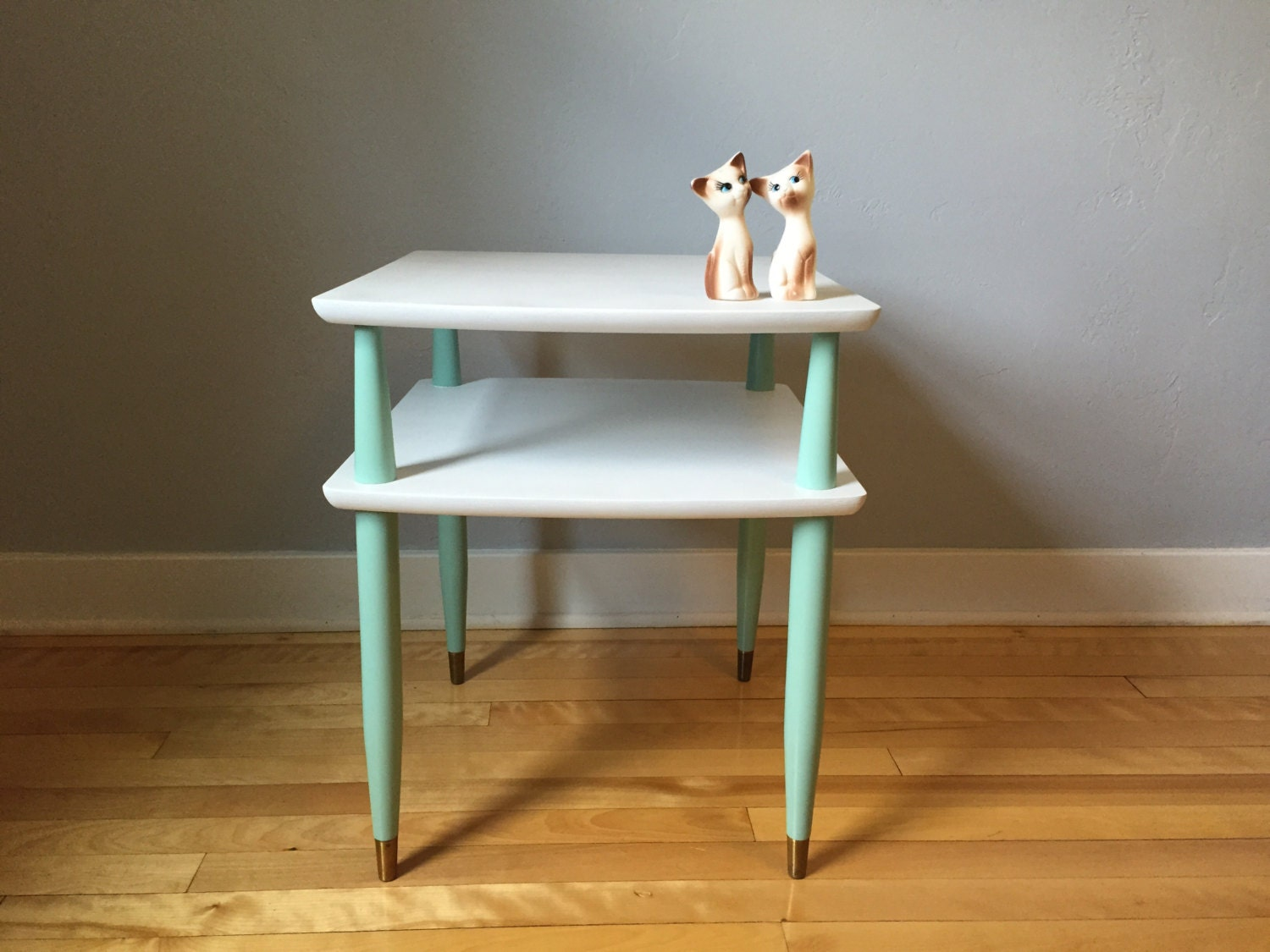 White Nightstand Side Table: FREE SHIPPING! Mint & White Mid Century End Table, Mid