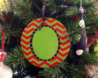 Large Christmas Ornament Personalized Wooden Ornament Chevron Ornament